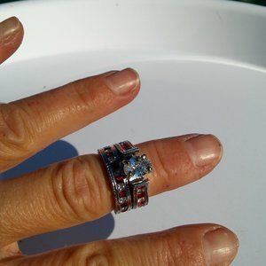 """Women`s marked """"925"""" red/clear wedding ring set S7"""